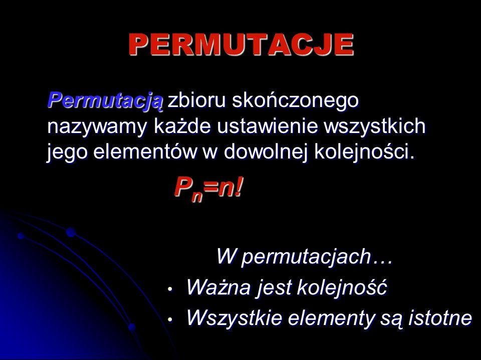 PERMUTACJE Permutacją zbioru skończonego nazywamy każde ustawienie wszystkich jego elementów w dowolnej kolejności. Permutacją zbioru skończonego nazy