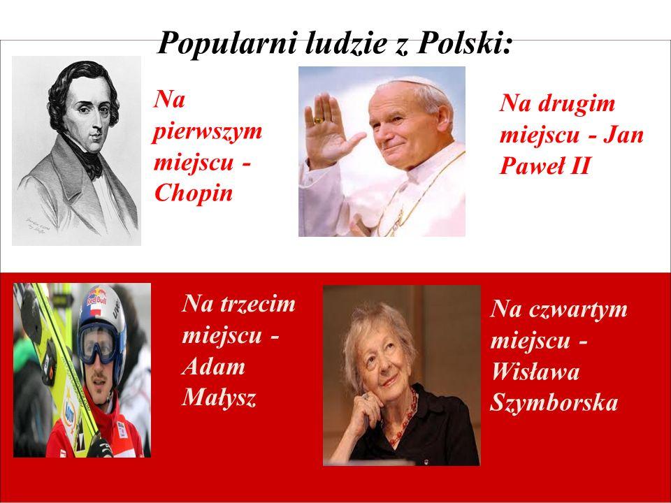 Popularni ludzie z Polski: Na pierwszym miejscu - Chopin Na drugim miejscu - Jan Paweł II Na trzecim miejscu - Adam Małysz Na czwartym miejscu - Wisła