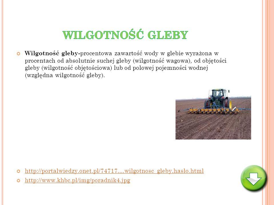 Wilgotność gleby- procentowa zawartość wody w glebie wyrażona w procentach od absolutnie suchej gleby (wilgotność wagowa), od objętości gleby (wilgotn