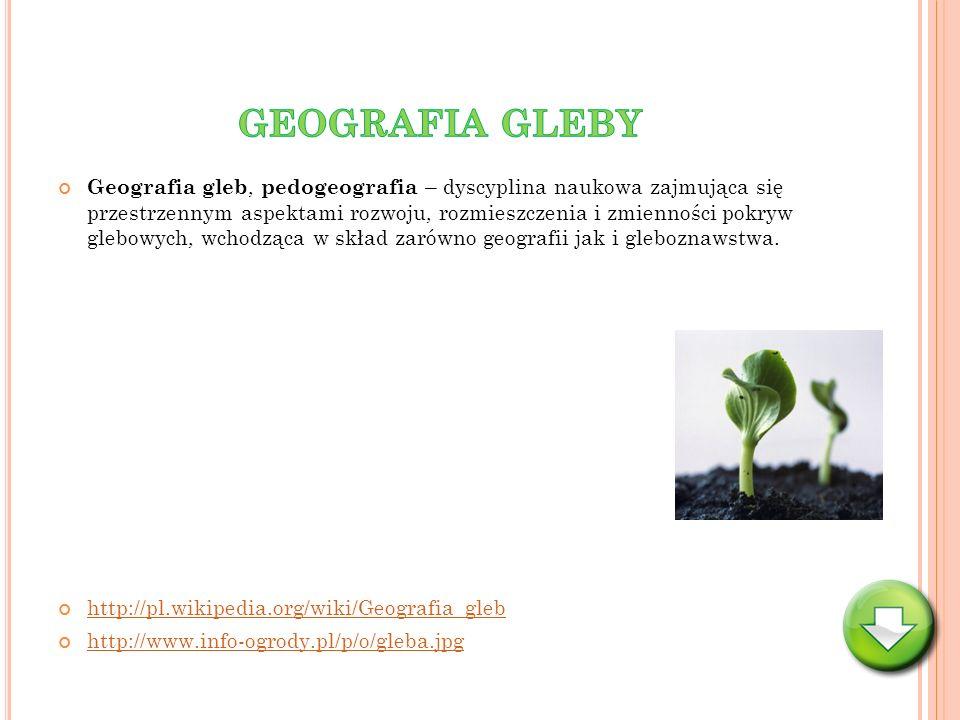 Geografia gleb, pedogeografia – dyscyplina naukowa zajmująca się przestrzennym aspektami rozwoju, rozmieszczenia i zmienności pokryw glebowych, wchodz