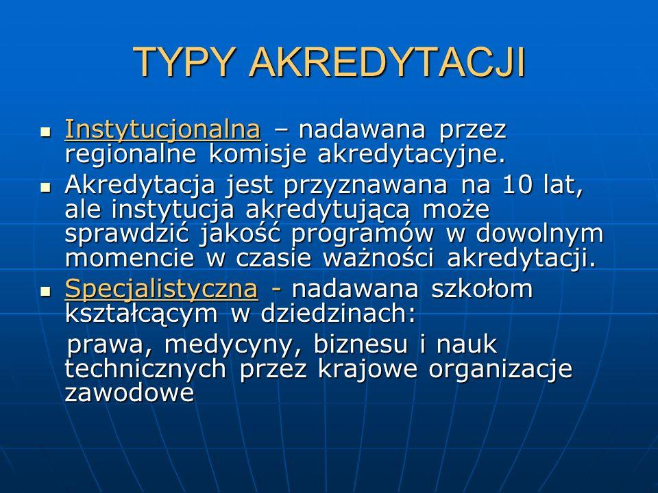 TYPY AKREDYTACJI Instytucjonalna – nadawana przez regionalne komisje akredytacyjne. Instytucjonalna – nadawana przez regionalne komisje akredytacyjne.