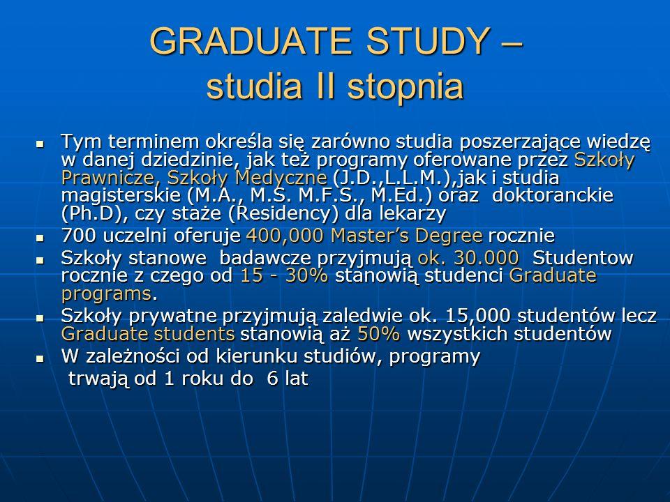 GRADUATE STUDY – studia II stopnia Tym terminem określa się zarówno studia poszerzające wiedzę w danej dziedzinie, jak też programy oferowane przez Sz