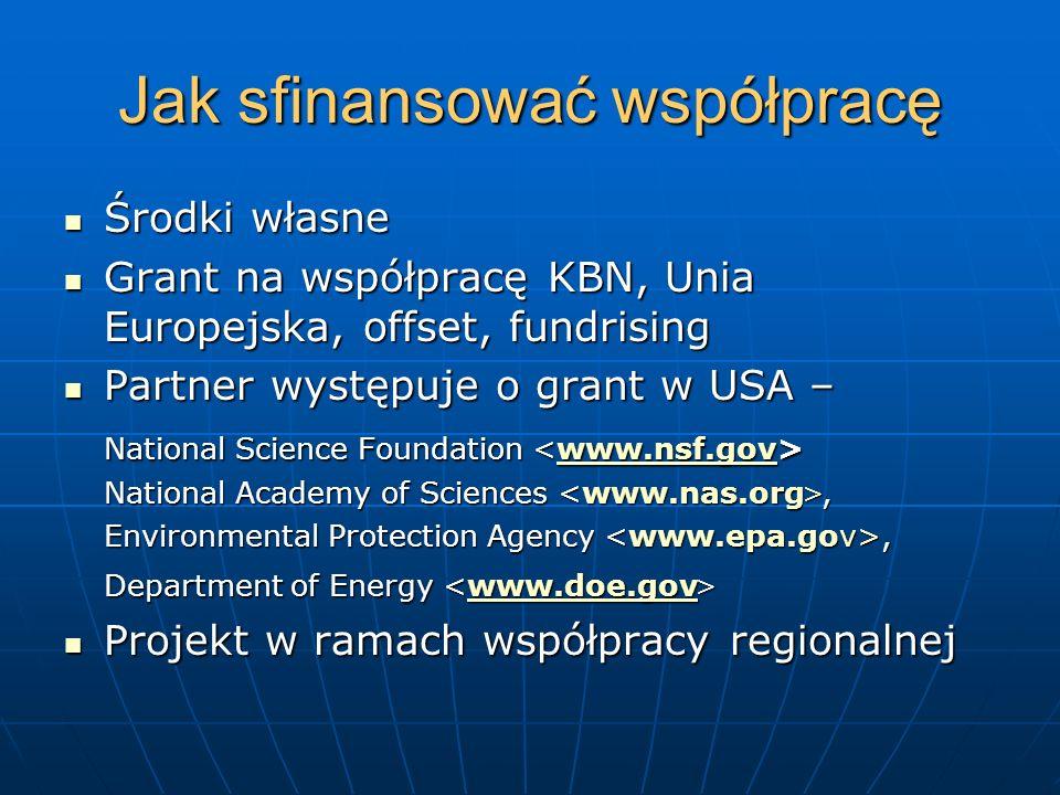 Jak sfinansować współpracę Środki własne Środki własne Grant na współpracę KBN, Unia Europejska, offset, fundrising Grant na współpracę KBN, Unia Euro