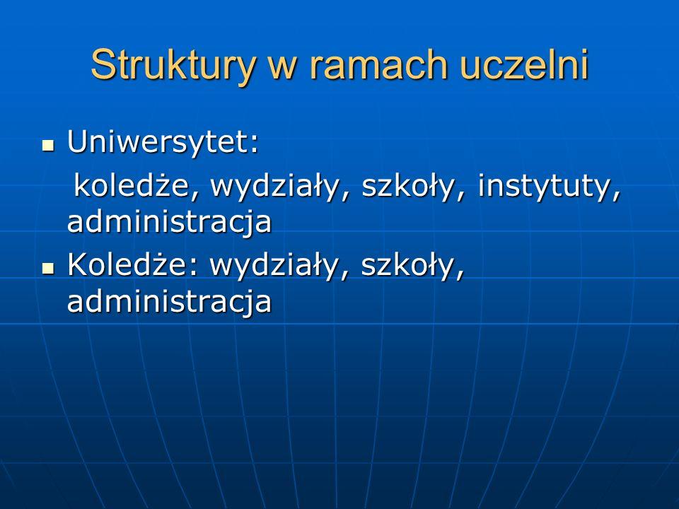 Struktury w ramach uczelni Uniwersytet: Uniwersytet: koledże, wydziały, szkoły, instytuty, administracja koledże, wydziały, szkoły, instytuty, adminis