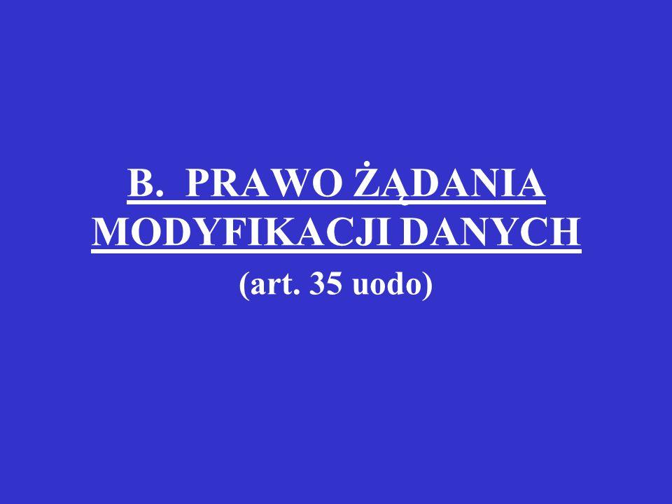 B. PRAWO ŻĄDANIA MODYFIKACJI DANYCH (art. 35 uodo)