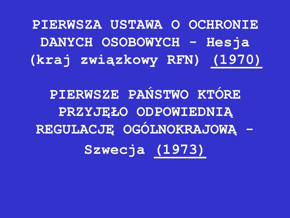 PIERWSZA USTAWA O OCHRONIE DANYCH OSOBOWYCH - Hesja (kraj związkowy RFN) (1970) PIERWSZE PAŃSTWO KTÓRE PRZYJĘŁO ODPOWIEDNIĄ REGULACJĘ OGÓLNOKRAJOWĄ -