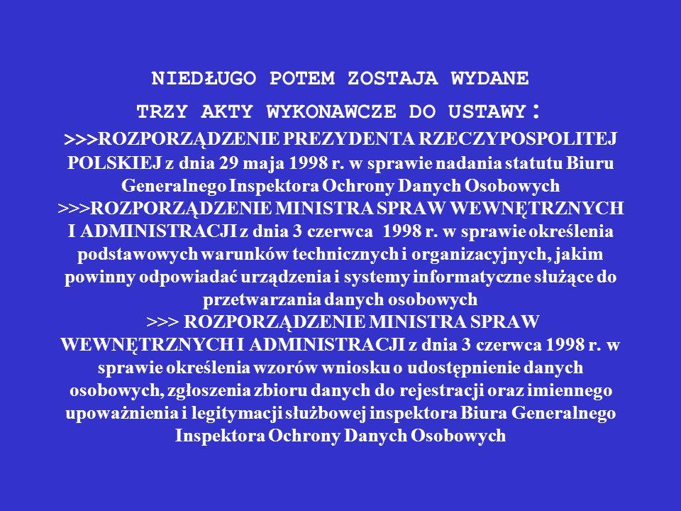 NIEDŁUGO POTEM ZOSTAJA WYDANE TRZY AKTY WYKONAWCZE DO USTAWY : >>> ROZPORZĄDZENIE PREZYDENTA RZECZYPOSPOLITEJ POLSKIEJ z dnia 29 maja 1998 r. w sprawi