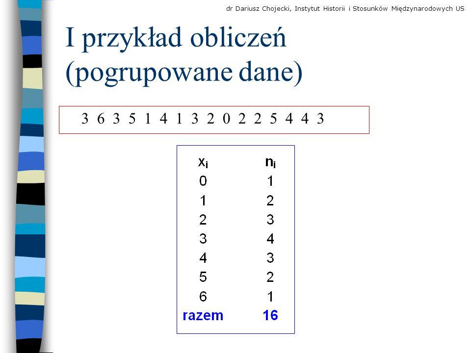 I przykład obliczeń (pogrupowane dane) 3 6 3 5 1 4 1 3 2 0 2 2 5 4 4 3 dr Dariusz Chojecki, Instytut Historii i Stosunków Międzynarodowych US