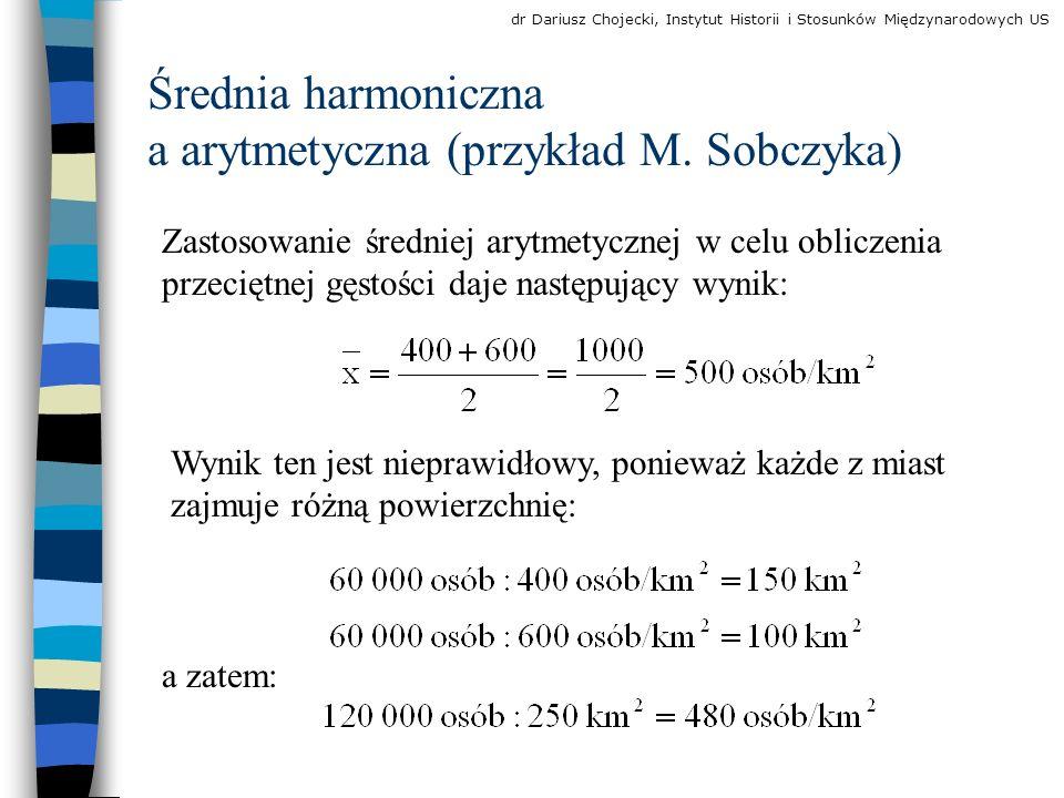 Średnia harmoniczna a arytmetyczna (przykład M.