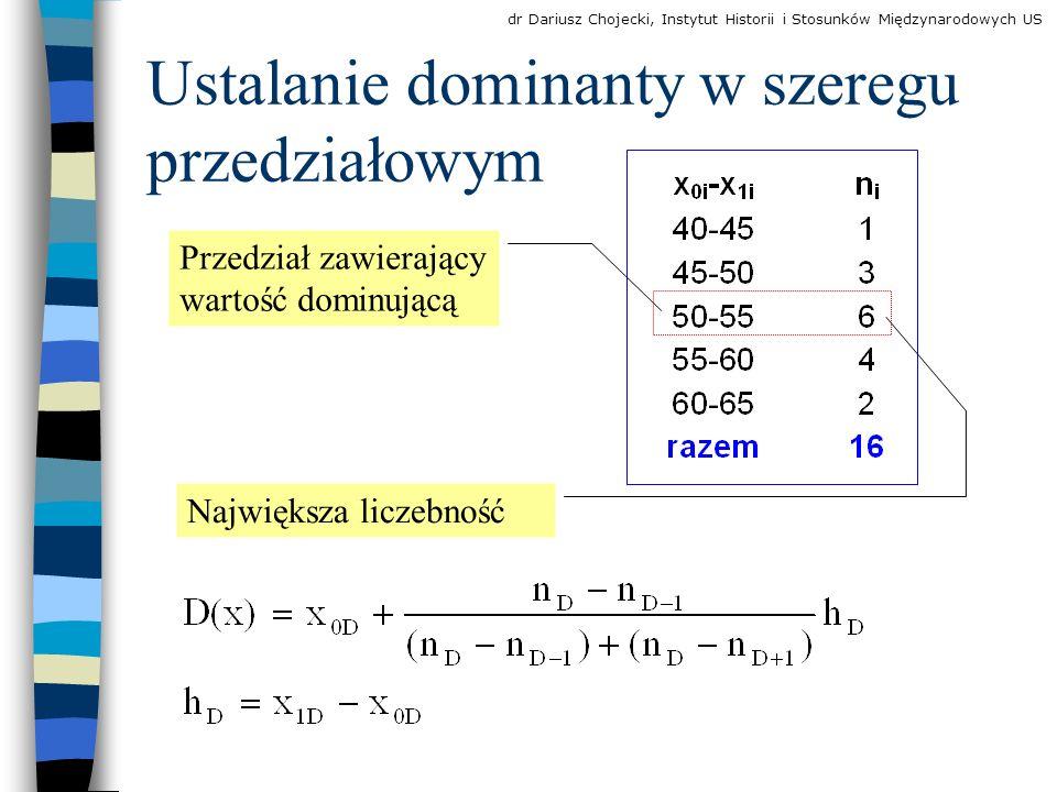 Ustalanie dominanty w szeregu przedziałowym Przedział zawierający wartość dominującą Największa liczebność dr Dariusz Chojecki, Instytut Historii i Stosunków Międzynarodowych US