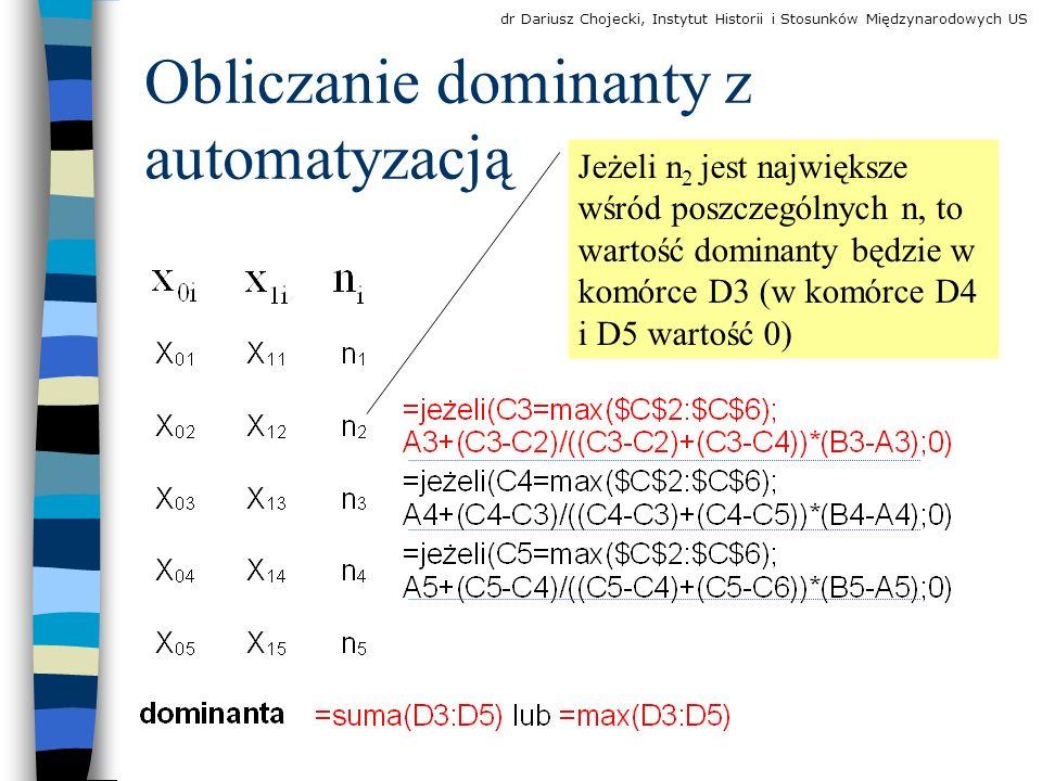 Obliczanie dominanty z automatyzacją Jeżeli n 2 jest największe wśród poszczególnych n, to wartość dominanty będzie w komórce D3 (w komórce D4 i D5 wartość 0) dr Dariusz Chojecki, Instytut Historii i Stosunków Międzynarodowych US