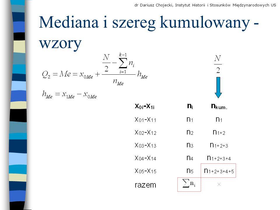 Mediana i szereg kumulowany - wzory dr Dariusz Chojecki, Instytut Historii i Stosunków Międzynarodowych US