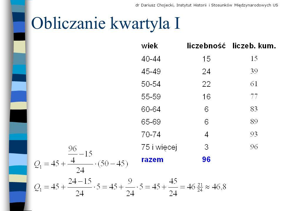Obliczanie kwartyla I dr Dariusz Chojecki, Instytut Historii i Stosunków Międzynarodowych US