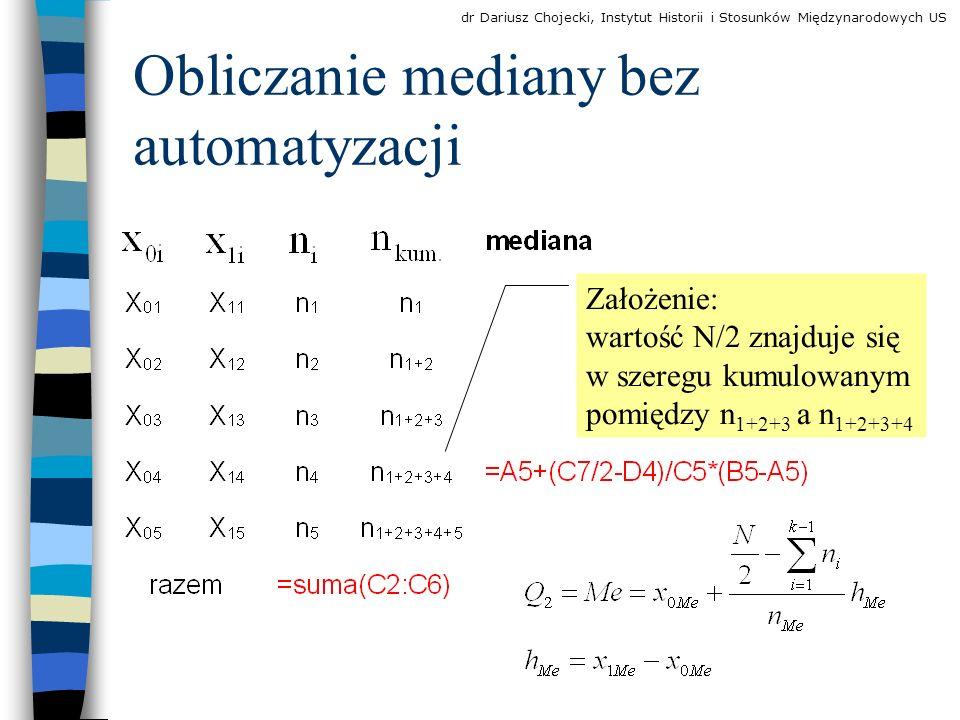 Obliczanie mediany bez automatyzacji Założenie: wartość N/2 znajduje się w szeregu kumulowanym pomiędzy n 1+2+3 a n 1+2+3+4 dr Dariusz Chojecki, Instytut Historii i Stosunków Międzynarodowych US