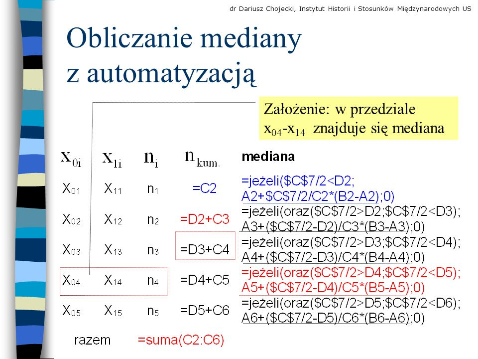 Założenie: w przedziale x 04 -x 14 znajduje się mediana Obliczanie mediany z automatyzacją dr Dariusz Chojecki, Instytut Historii i Stosunków Międzynarodowych US