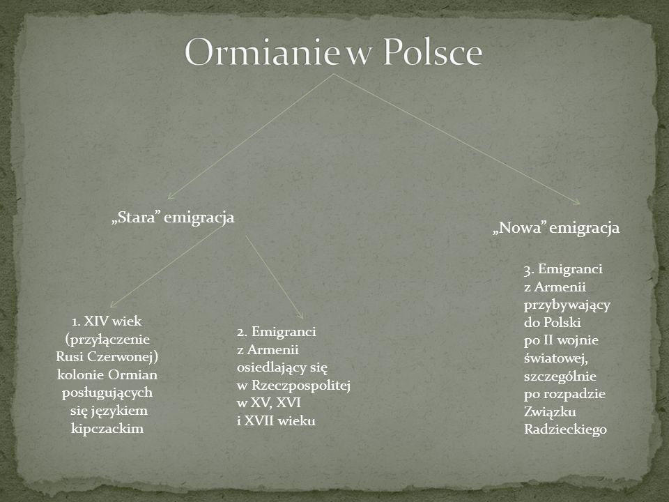 Stara emigracja Nowa emigracja 1. XIV wiek (przyłączenie Rusi Czerwonej) kolonie Ormian posługujących się językiem kipczackim 2. Emigranci z Armenii o