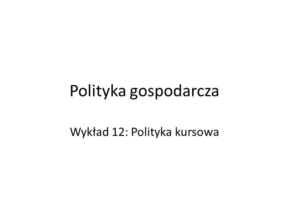 Polityka gospodarcza Wykład 12: Polityka kursowa