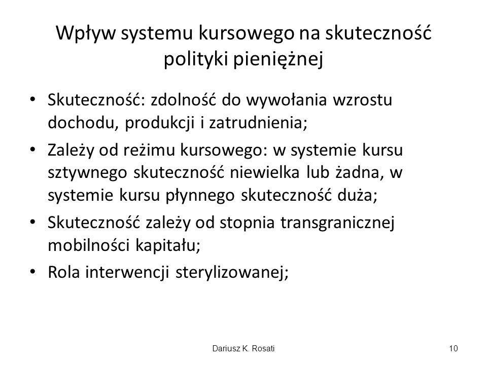 Wpływ systemu kursowego na skuteczność polityki pieniężnej Skuteczność: zdolność do wywołania wzrostu dochodu, produkcji i zatrudnienia; Zależy od reż