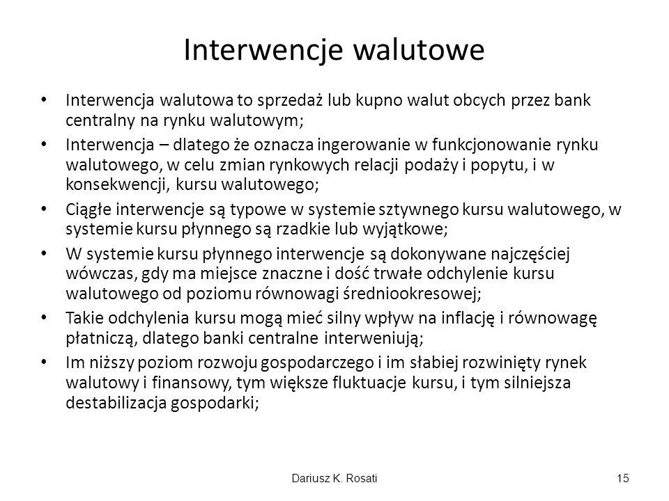 Interwencje walutowe Interwencja walutowa to sprzedaż lub kupno walut obcych przez bank centralny na rynku walutowym; Interwencja – dlatego że oznacza