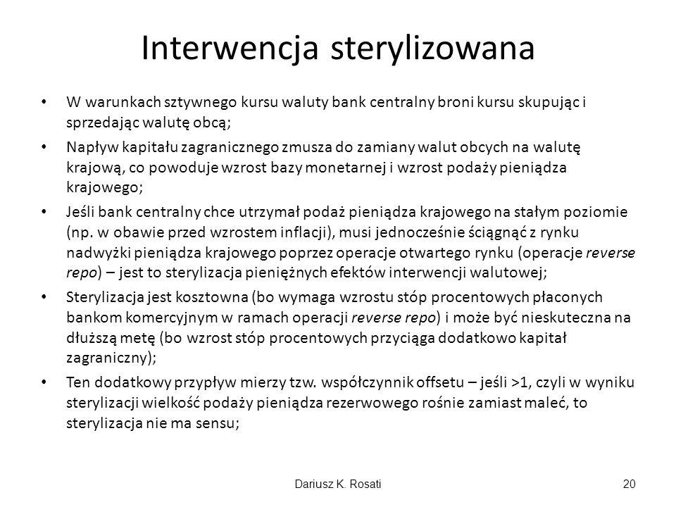 Interwencja sterylizowana W warunkach sztywnego kursu waluty bank centralny broni kursu skupując i sprzedając walutę obcą; Napływ kapitału zagranicznego zmusza do zamiany walut obcych na walutę krajową, co powoduje wzrost bazy monetarnej i wzrost podaży pieniądza krajowego; Jeśli bank centralny chce utrzymał podaż pieniądza krajowego na stałym poziomie (np.