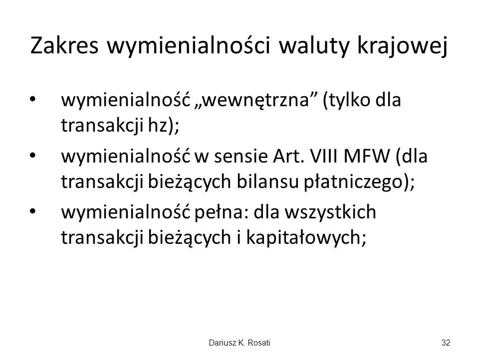 Zakres wymienialności waluty krajowej wymienialność wewnętrzna (tylko dla transakcji hz); wymienialność w sensie Art. VIII MFW (dla transakcji bieżący