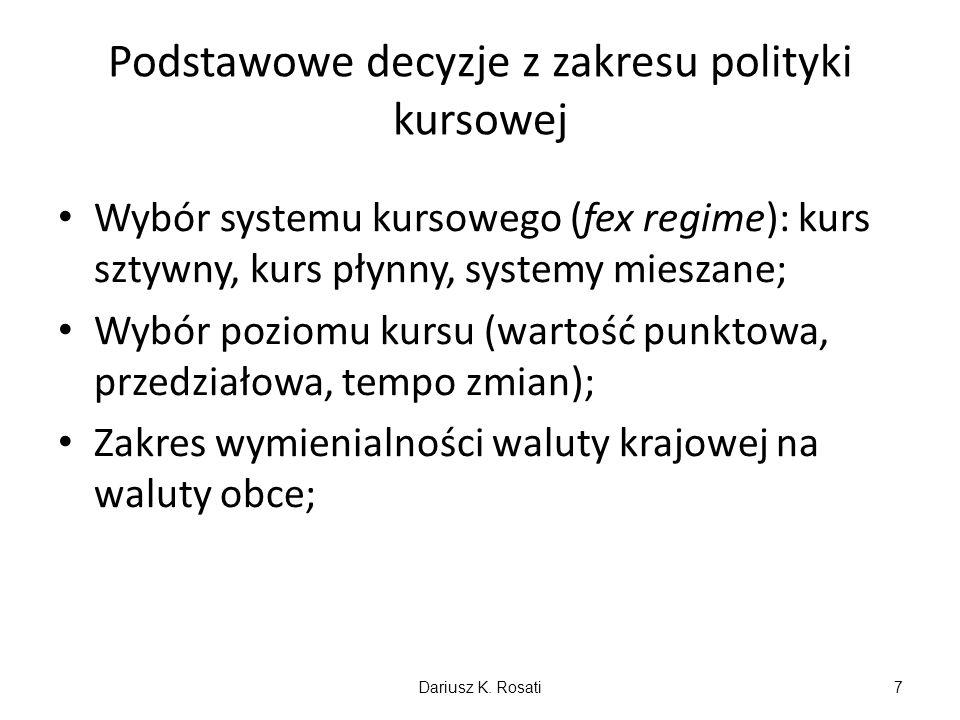 Podstawowe decyzje z zakresu polityki kursowej Wybór systemu kursowego (fex regime): kurs sztywny, kurs płynny, systemy mieszane; Wybór poziomu kursu (wartość punktowa, przedziałowa, tempo zmian); Zakres wymienialności waluty krajowej na waluty obce; Dariusz K.