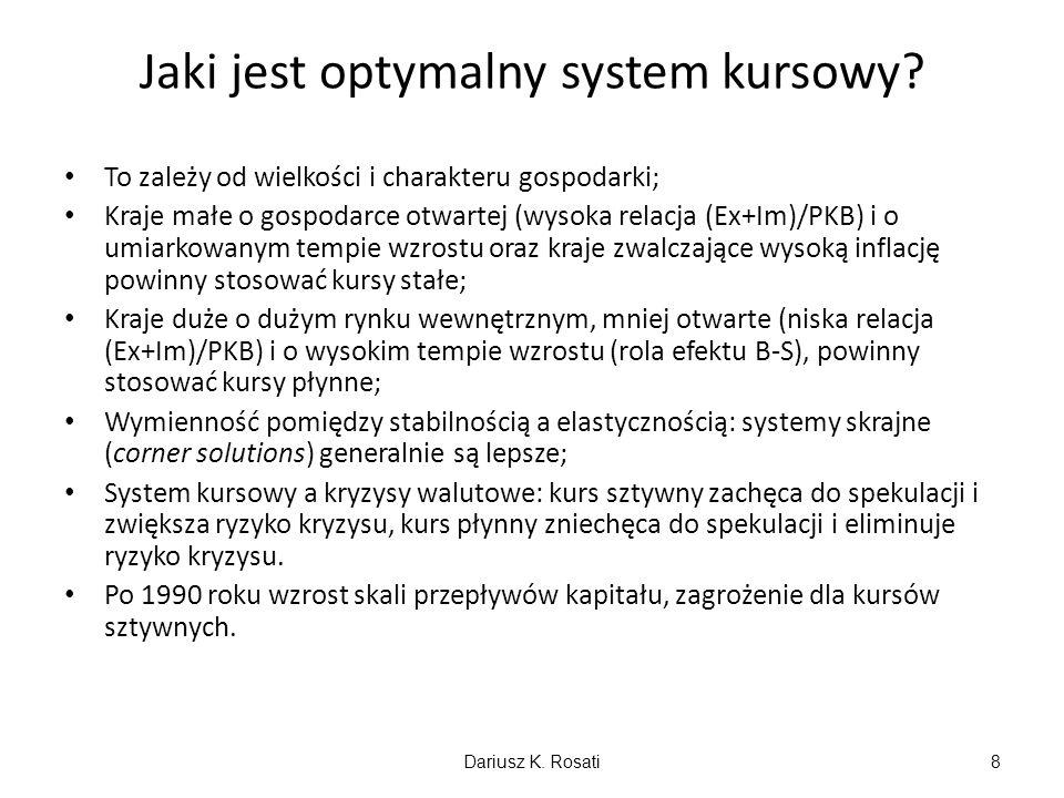 Jaki jest optymalny system kursowy? To zależy od wielkości i charakteru gospodarki; Kraje małe o gospodarce otwartej (wysoka relacja (Ex+Im)/PKB) i o
