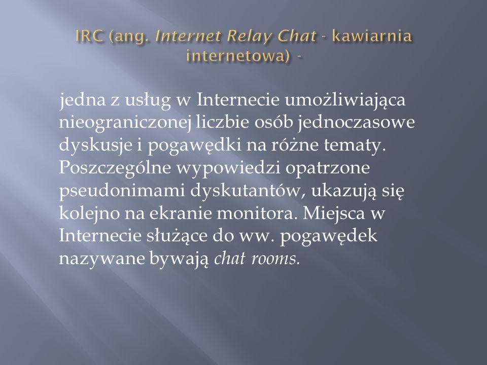 jedna z usług w Internecie umożliwiająca nieograniczonej liczbie osób jednoczasowe dyskusje i pogawędki na różne tematy. Poszczególne wypowiedzi opatr