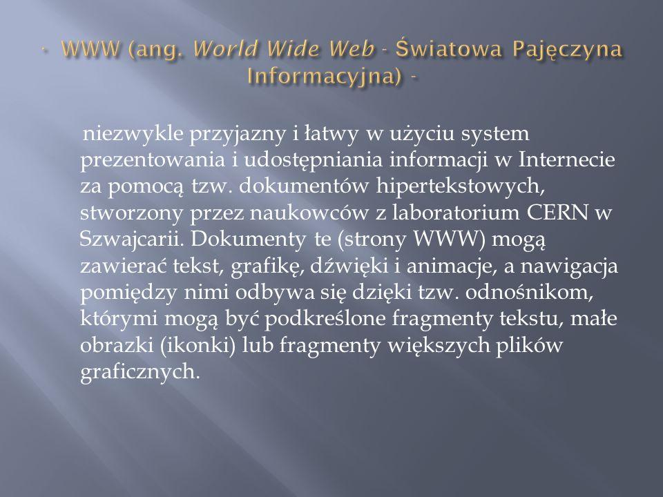 niezwykle przyjazny i łatwy w użyciu system prezentowania i udostępniania informacji w Internecie za pomocą tzw. dokumentów hipertekstowych, stworzony