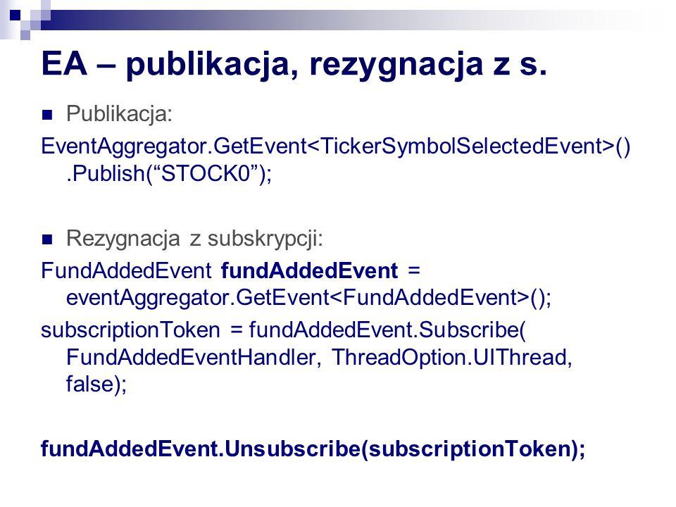 EA – publikacja, rezygnacja z s. Publikacja: EventAggregator.GetEvent ().Publish(STOCK0); Rezygnacja z subskrypcji: FundAddedEvent fundAddedEvent = ev