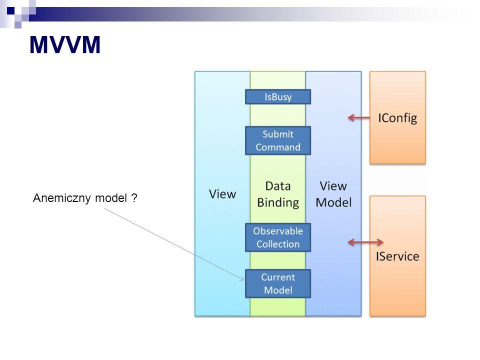Prism linki HomePage http://compositewpf.codeplex.com/ HOL - http://msdn.microsoft.com/en- us/library/gg405475%28v=pandp.40%29.a spx Dokumentacja http://msdn.microsoft.com/en- us/library/gg406140.aspx