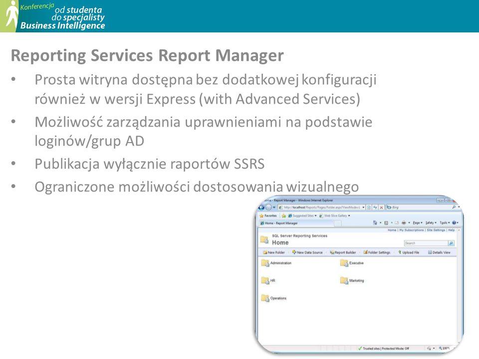 Reporting Services Report Manager Prosta witryna dostępna bez dodatkowej konfiguracji również w wersji Express (with Advanced Services) Możliwość zarz