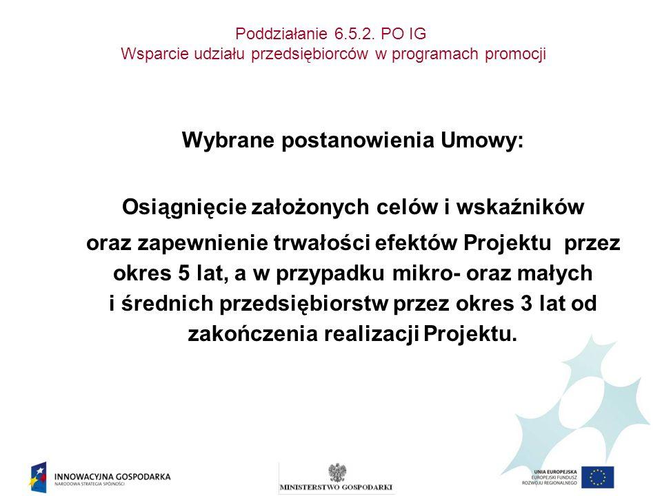 Poddziałanie 6.5.2. PO IG Wsparcie udziału przedsiębiorców w programach promocji Wybrane postanowienia Umowy: Osiągnięcie założonych celów i wskaźnikó