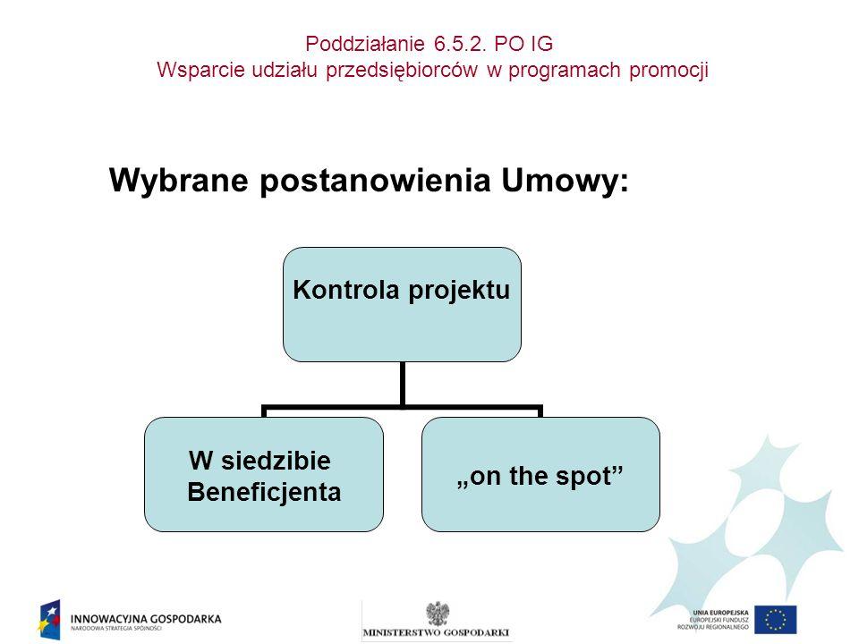Poddziałanie 6.5.2. PO IG Wsparcie udziału przedsiębiorców w programach promocji Wybrane postanowienia Umowy: Kontrola projektu W siedzibie Beneficjen