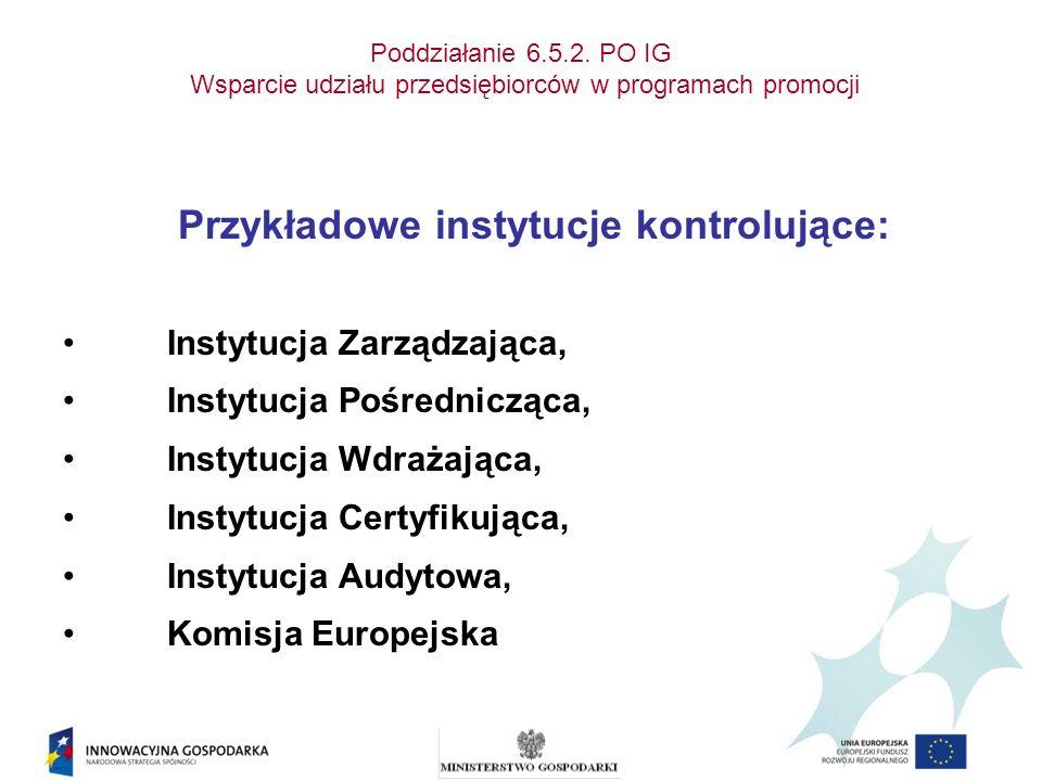 Poddziałanie 6.5.2. PO IG Wsparcie udziału przedsiębiorców w programach promocji Przykładowe instytucje kontrolujące: Instytucja Zarządzająca, Instytu