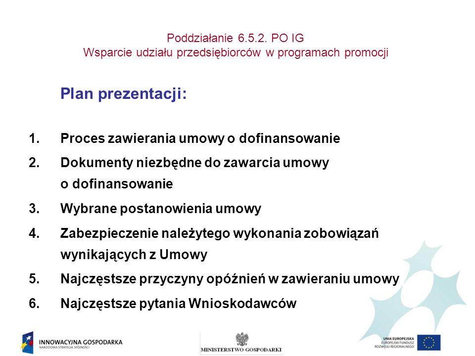 Poddziałanie 6.5.2. PO IG Wsparcie udziału przedsiębiorców w programach promocji Plan prezentacji: 1.Proces zawierania umowy o dofinansowanie 2.Dokume