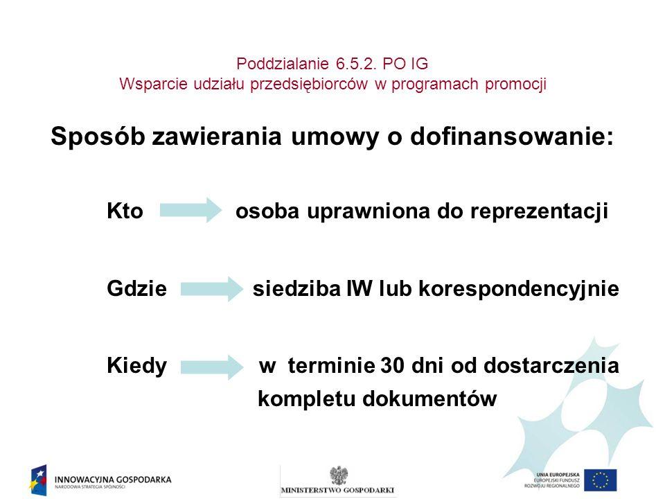 Poddzialanie 6.5.2. PO IG Wsparcie udziału przedsiębiorców w programach promocji Sposób zawierania umowy o dofinansowanie: Kto osoba uprawniona do rep