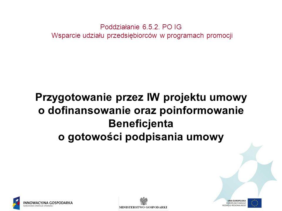 Poddziałanie 6.5.2. PO IG Wsparcie udziału przedsiębiorców w programach promocji Przygotowanie przez IW projektu umowy o dofinansowanie oraz poinformo