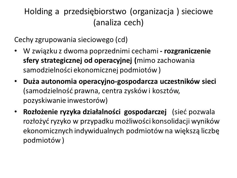 Holding a przedsiębiorstwo (organizacja ) sieciowe (analiza cech) Cechy zgrupowania sieciowego (cd) W związku z dwoma poprzednimi cechami - rozgranicz