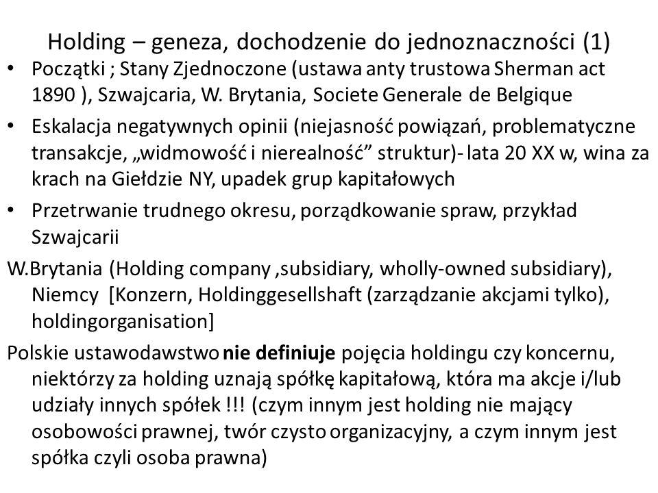 Holding – geneza, dochodzenie do jednoznaczności (1) Początki ; Stany Zjednoczone (ustawa anty trustowa Sherman act 1890 ), Szwajcaria, W. Brytania, S