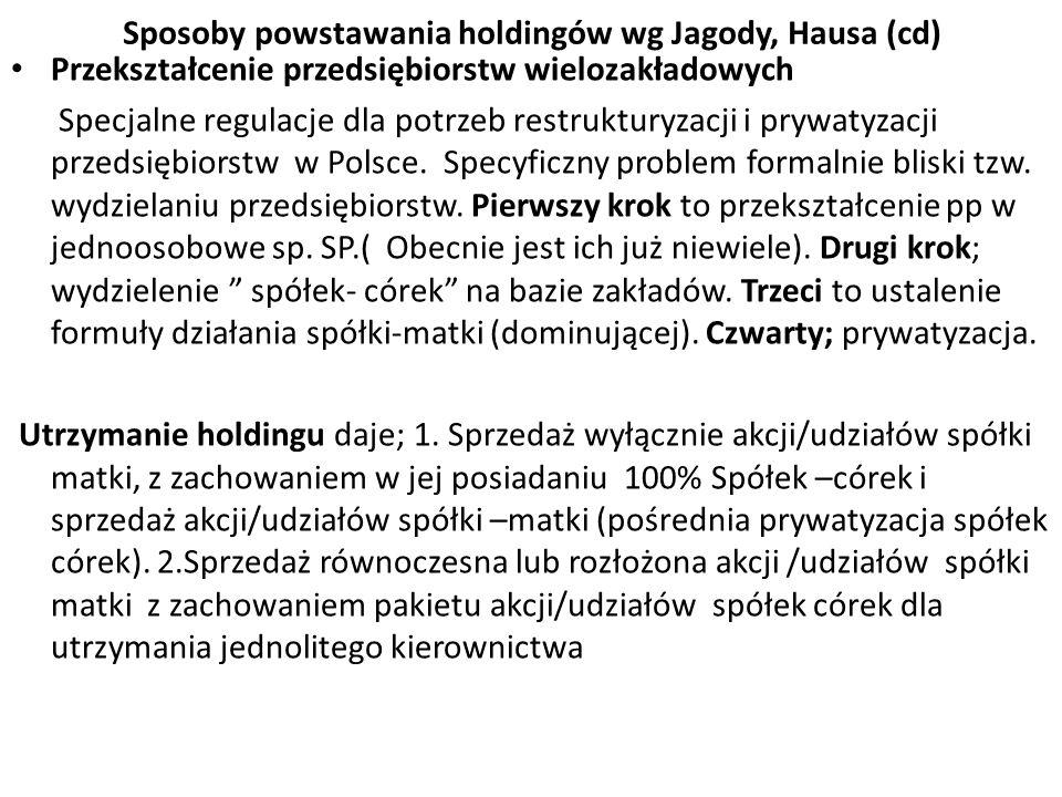 Sposoby powstawania holdingów wg Jagody, Hausa (cd) Przekształcenie przedsiębiorstw wielozakładowych Specjalne regulacje dla potrzeb restrukturyzacji i prywatyzacji przedsiębiorstw w Polsce.