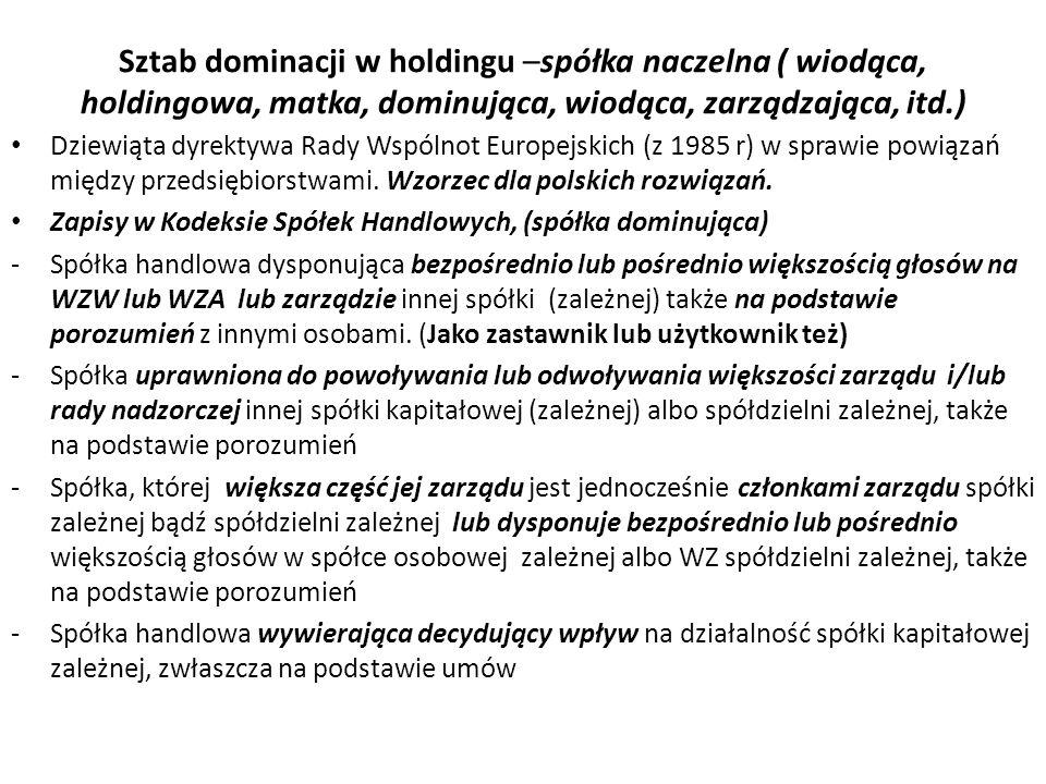 Sztab dominacji w holdingu –spółka naczelna ( wiodąca, holdingowa, matka, dominująca, wiodąca, zarządzająca, itd.) Dziewiąta dyrektywa Rady Wspólnot Europejskich (z 1985 r) w sprawie powiązań między przedsiębiorstwami.