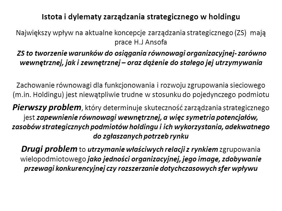 Istota i dylematy zarządzania strategicznego w holdingu Największy wpływ na aktualne koncepcje zarządzania strategicznego (ZS) mają prace H.J Ansofa ZS to tworzenie warunków do osiągania równowagi organizacyjnej- zarówno wewnętrznej, jak i zewnętrznej – oraz dążenie do stałego jej utrzymywania Zachowanie równowagi dla funkcjonowania i rozwoju zgrupowania sieciowego (m.in.