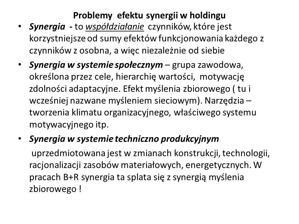 Problemy efektu synergii w holdingu Synergia - to współdziałanie czynników, które jest korzystniejsze od sumy efektów funkcjonowania każdego z czynnik