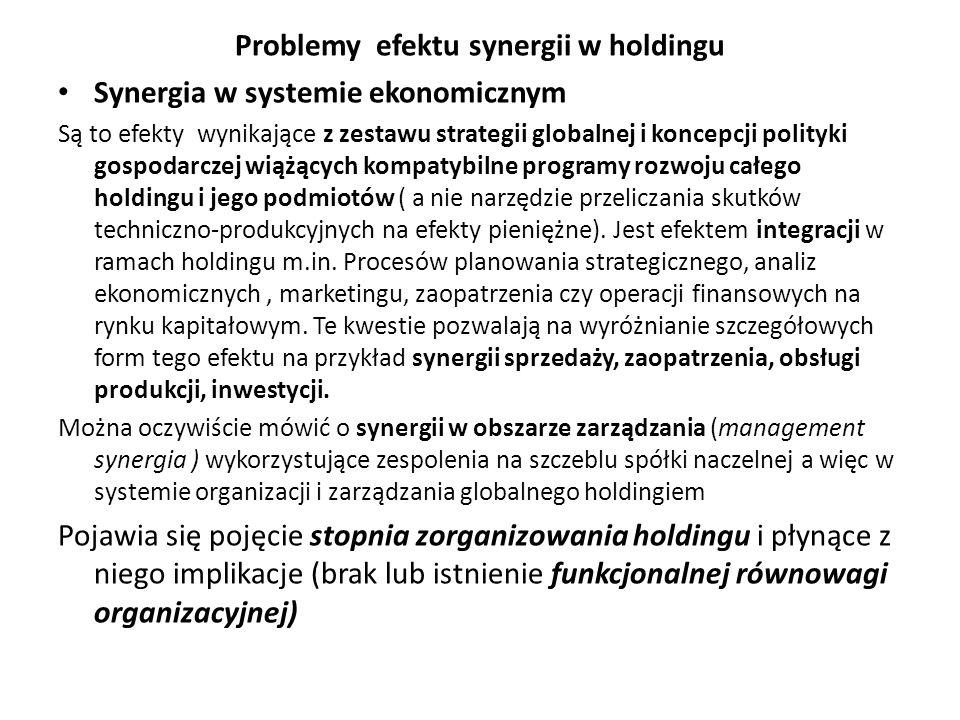 Problemy efektu synergii w holdingu Synergia w systemie ekonomicznym Są to efekty wynikające z zestawu strategii globalnej i koncepcji polityki gospodarczej wiążących kompatybilne programy rozwoju całego holdingu i jego podmiotów ( a nie narzędzie przeliczania skutków techniczno-produkcyjnych na efekty pieniężne).