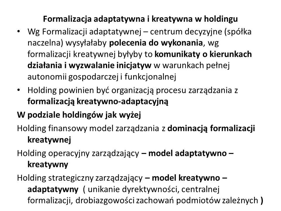 Formalizacja adaptatywna i kreatywna w holdingu Wg Formalizacji adaptatywnej – centrum decyzyjne (spółka naczelna) wysyłałaby polecenia do wykonania,