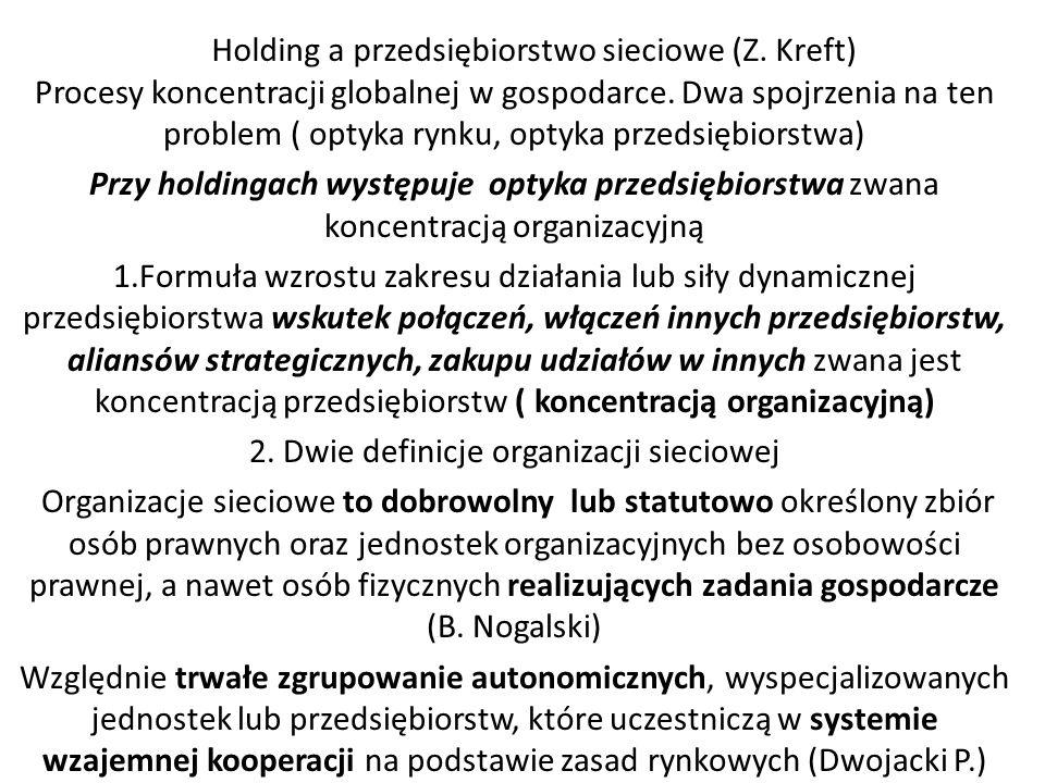 Holding a przedsiębiorstwo sieciowe (Z. Kreft) Procesy koncentracji globalnej w gospodarce. Dwa spojrzenia na ten problem ( optyka rynku, optyka przed