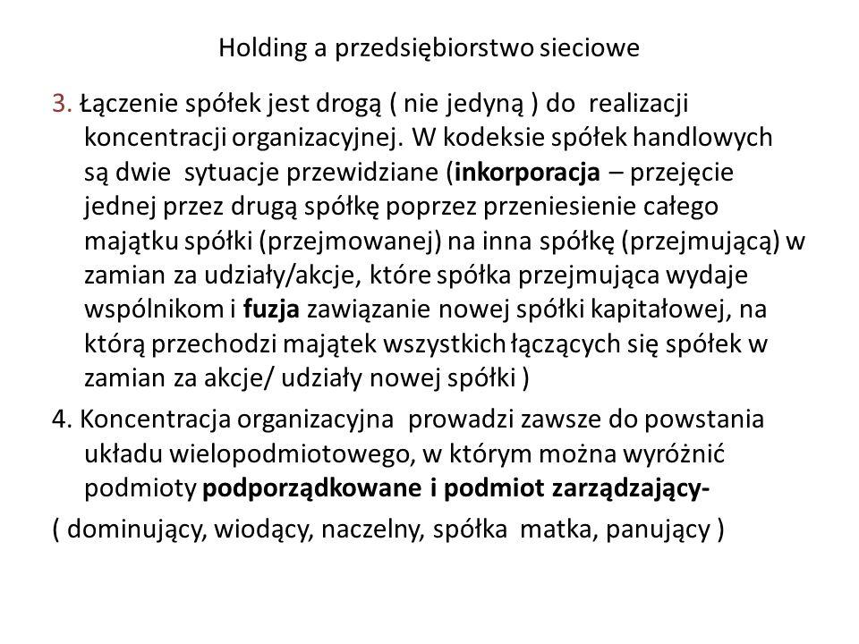 Holding a przedsiębiorstwo sieciowe 3.