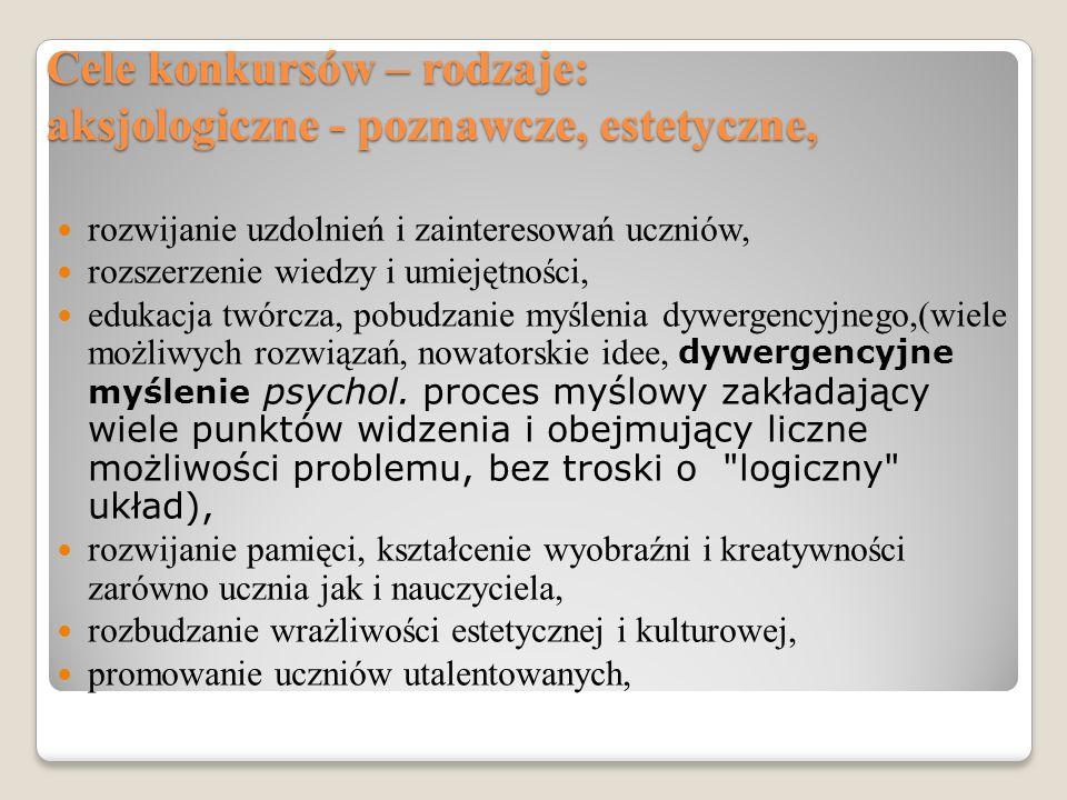 Cele specyficzne, związane z przedmiotem Np.