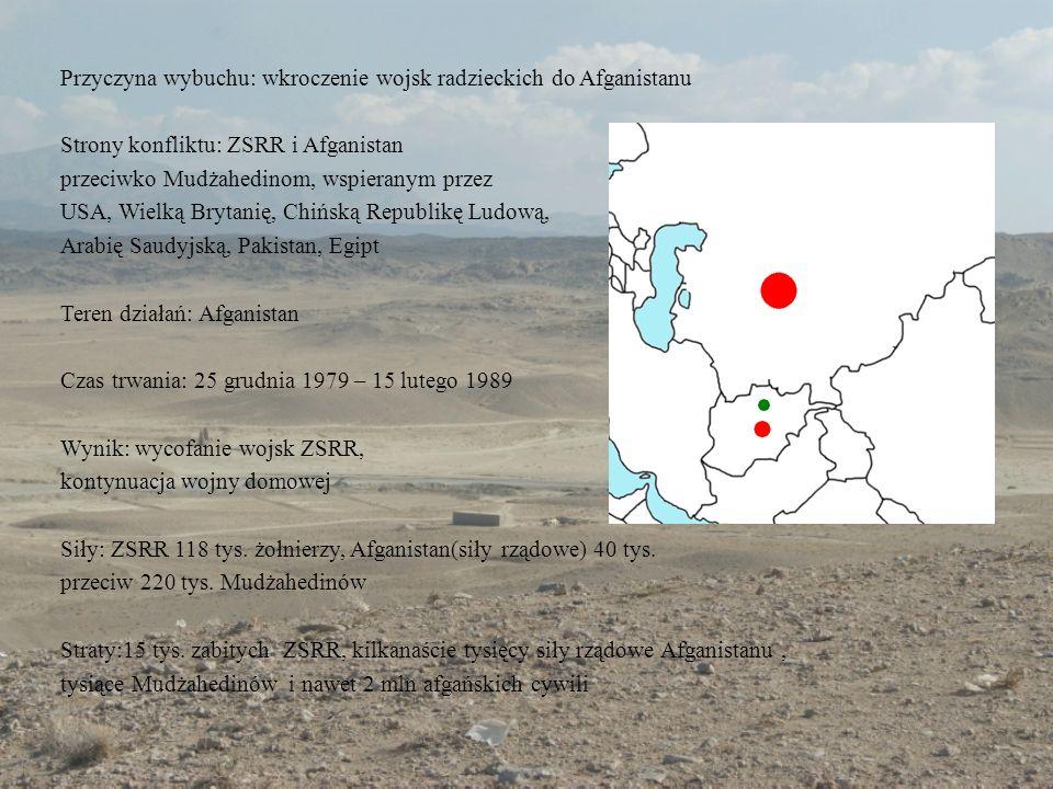 Przyczyna wybuchu: wkroczenie wojsk radzieckich do Afganistanu Strony konfliktu: ZSRR i Afganistan przeciwko Mudżahedinom, wspieranym przez USA, Wielk